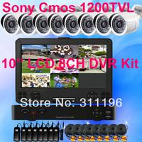 Outdoor Surveillance DVR Camera Kit 8 Channel 10'' LCD Recorder SONY CMOS 1200TVL Waterproof Bullet Camera CCTV System