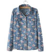 Floral jeans blouse women shirts 2014 spring long sleeve elegant flower printing slim denim blouse shirts ladies casual shirts