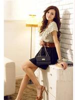New 2014 Summer Cute Women Chiffon Patchwork Pinched Waist Short Sleeve Falbala Dress Vestidos, Black+White, S, M, L