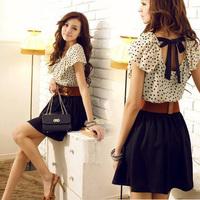 New 2014 Summer Cute Women Chiffon Dot Ruffle Sleeveless Tunic Dress Vestidos With Belt, Black+White, S, M, L