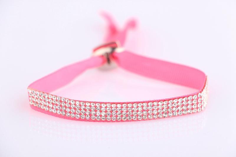 2014 New arrival Silk Wristband adjustable plenty Rhinestone Bead Bracelets pink color(China (Mainland))