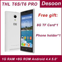 Original THL T6S thl T6 pro mobile phone MTK6582 Quad Core 1.3Ghz 1G 8G Dual sim card 3G smartphone/mary