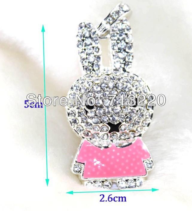 16GB Fashion Cute Crystal Rabbit Necklace 8GB Pendant Jewelry USB Drive 4GB 32GB Brand New Good Quality Genuine True Capacity!(China (Mainland))