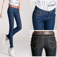 New Arrival  Fashion Casual Mid Waist Women Straight Jeans Slim Pencil Skinny Denim Pants For Women