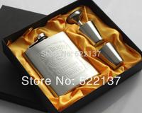 Jack Daniels Hip Flask 7oz Set Portable Stainless Steel Flagon Wine Bottle Gift Box Pocket Flask ,Embossed Lmages Free Shipping
