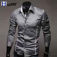 2013 New Dress Fashion Quality Long Sleeve Shirt Men Korean Slim Design Formal Casual Male Dress Shirt Solid Color Stripe Hot