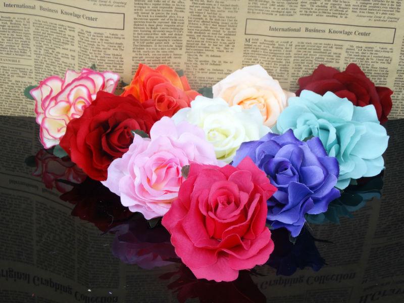 """2X champagne purple white red pink rose Artificial Silk Flower Heads diy wedding bride craft home garden wreath 4""""/10cm(China (Mainland))"""