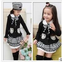 Free shipping wholesale plaid long-sleeved baby girls suits,skirt set children spring autumn clothing coat+skirt,3pcs/set 80-120