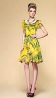 Print silk chiffon dress/Silk Chiffon fabric/Peacock pattern fashion style/