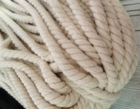 6mm*90m  100% cotton rope twisted 3 strands white black natural 3  colors free shipping NEW clothes garment