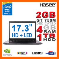 """HASEE NEW 17.3"""" 900p Full HD 4GB Ram Laptop Intel Core i7-4700MQ 3.4GHz NVIDIA GT750M 2GB 1TB HDD DVDRW HDMI Webcam USB 3.0"""