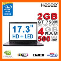 """HASEE NEW 17.3"""" 900p Full HD 4GB Ram Laptop Intel Core i5-4200M 3.1GHz NVIDIA GT750M 2GB 500GB HDD DVDRW HDMI Webcam USB3.0"""