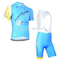 cycling jersey 2014 !! Astana cycling jersey short sleeve and cycling bib shorts sets ASTANA team cycling 2014 men clothing