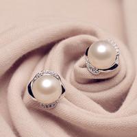 2015 New Brand Natural 100% Freshwater Pearl Genuine Pink&White Flower Bud Jewelry Earrings#PE005