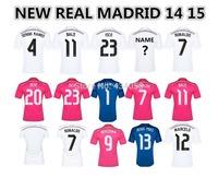 Top Thai Quality Real Madrid 14 15 Soccer Jersey James Bale Isco Ronaldo Sergio Ramos Jese Benzema Home Away football shirt