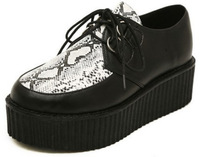 Fashion Women Girl's British Goth Punk Creepers Snake skin Style Flats Hot Sale Lace up Boat Flat Platform Shoes