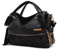 2014 New Fashion Hot Sale casual leopard print bags one shoulder handbag women's handbag leather messenger bag WL4011