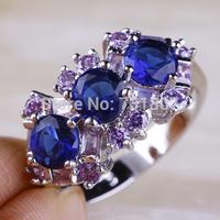 Wholesale Attractable Round Cut Sapphire Quartz & Tourmaline New Design Silver Ring Size 9 Fashion Ring For Women