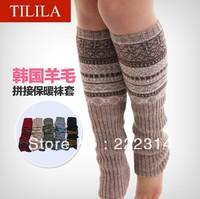 female socks knitted over-the-knee leg irregular decorative pattern color block decoration piles acrylic knitted yarnbootsset035