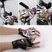 White New Cycling Bike Comfortable Lycra Bicycle Sports GEL Palm Pad Half Finger Glove Glove peak