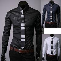 2014 New Men Slim Fit Silk Sleeve&Collar Stylish Shirts South Korea long sleeve Dress Shirts 3colors Novelty
