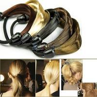 Korean Wig Hair Ponytail Holders Plaits Hair Circle Manual Twist Rubber Band Headband Headwear 069R
