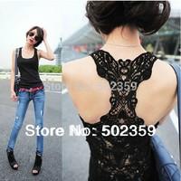 free shipping hot sale back van fashion  women's the whole cutout crochet lace tank basic slim spaghetti strap top