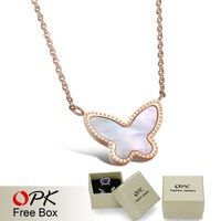 OPK JEWELRY Authentic shell Elegant Rose Gold Butterfly Necklace Noble Women Costume Jewelry, 869
