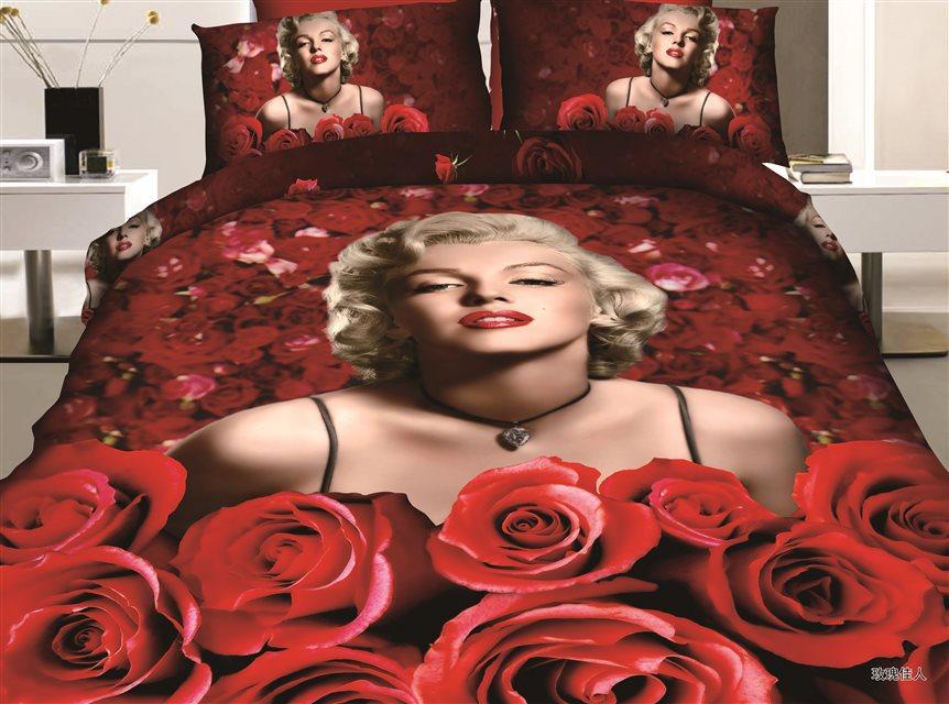 Purple Duvet Cover Marilyn Monroe Bedding Set Romantic