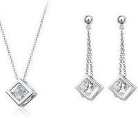 Fashion Austria Crystal   Pure copper inlay zircon jewelry jewelry sets small squares B13