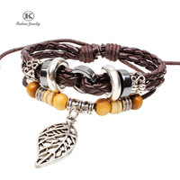 2014 New Bohemia Style Fashion Vintage Jewelry Genuine Leather Bracelet with Handmade Braided rope Unisex for Men Women bracelet