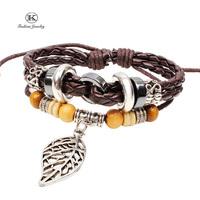 2014 New Bohemia Style Fashion Vintage Jewelry Genuine Leather Bracelet with Handmade Braided rope Unisex for Men Women bracelet