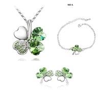 Fashion austria  crystal  Wholesale fashion white gold plated clover crystal rhinestone jewelry set  B20