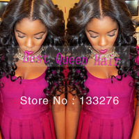 "Large Stock !! Beauty 20""22 inch black human hair full lace wigs and Kinky curly silk top full lace wigs for black women"