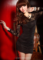 Women See Through Long Sleeve Splicing Lace Party Clubbing Mini Dress Sexy Chic Milk Silk Dresses