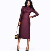 Women Winter Midi Dress Long Sleeve Elasticity Slim Fall Plus Bandage Dresses Plus Size Vintage Bodycon Casual Purple Dresses