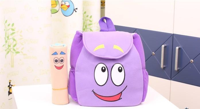 2 pçs/lote grátis frete varejo Dora The Explorer sr . rosto Plush Backpack Shool saco roxo da criança tamanho atacado # b1000(China (Mainland))