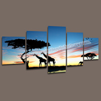 Hot Sales Canvas Painting 5 Piece Wall Art of Animal Giraffe Canvas Picture Prints for Living Room -- Wall Pictures Decoration
