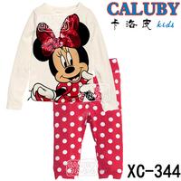 Girls Minnie Mouse Pajamas Sets Kids Autumn -Summer Clothing Set New 2014 Wholesale Red Long-sleeve Sleepwear XC-344