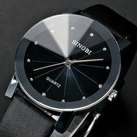 Men Quartz Watch Leather Strap Watch Alloy Case Comfortable Band SINOBI Brand Watch Top Quality Men's Wristwatch