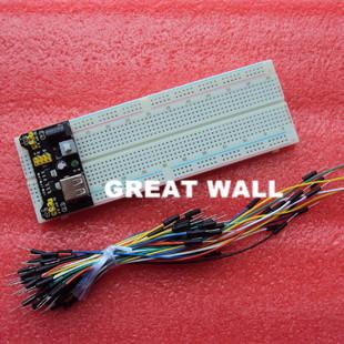 Гаджет  3.3V/5V MB102 Breadboard power module+MB-102 830 points Solderless Prototype Bread board kit +65 Flexible jumper wires wholesale None Электронные компоненты и материалы