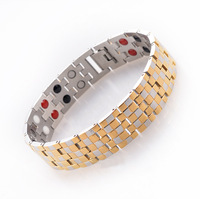 """New 2014 Fashion Jewelry Healing Magnetic 316L Stainless Steel Bracelet For Men Or Women 18k Gold Plated 8.5"""" SS005B"""