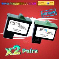 High Quality Replacement Ink Cartridge for Lexmark 16 26 10N0016 10N0026 X1150 X1270 X2250 X75 Z13 Z23 Z25 Z33 Z35 Z515 (2Pairs)