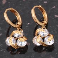 Color crystal 18k gold plated Zirconia dangle drop women earrings wholesale vintage emerald cuff  fashion jewelry JE429