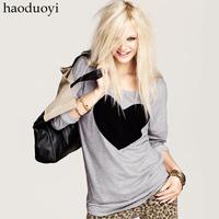 Heart pattern grey o-neck top sweatshirt long-sleeve T-shirt basic shirt female
