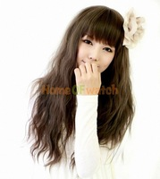 4 Colors Fashion Natural Long Curly Wigs Flat Bangs Wigs-Light Brown-Ladies (NWG0LO60710)