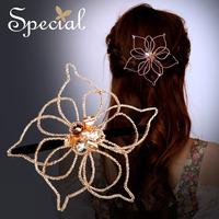 Special 2014 New Design Flower Alloy Hair Clip  Golden European Style Women Crystal Hair Pin Handmade Free Shipping FS14A010705