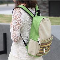 stripe double backpack national trend student school bag travel bag 5 colors