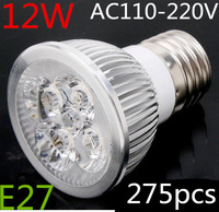 275pcs/lot High Power Dimmable E27 E14 b22 4X3W 12w Led Lamp  Spotlight 85V-265V Led Light Lighting Led Bulbs free shipping