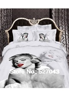 New 2014 Marilyn Monroe Luxury 3D 4pcs Bedding Set Bed linen Duvet or Quilt Cover Bedclothes Full/Queen/King Size ,Free Shipping